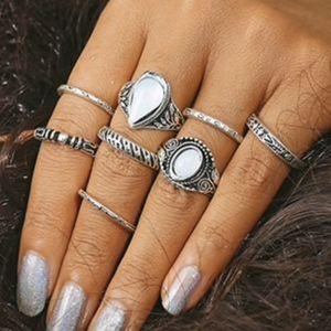 Jewelry - Vintage Silver Boho White Opal Stone Midi Rings